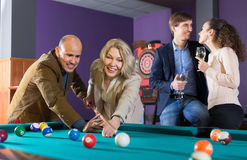 Adults people having pool game Stock Photos