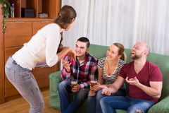 Adults playing charades Royalty Free Stock Photo