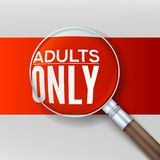 Adults only. Red banner with a magnifying glass Stock Images