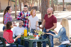 Adults relaxing at grill party. Smiling adults friends relaxing at grill party in sunny day Stock Images