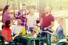 Adults relaxing at grill party. Smiling adults friends relaxing at grill party in sunny day Stock Image