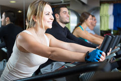 Adults riding stationary bicycles in fitness club Stock Photography