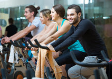 Adults riding stationary bicycles in fitness club Royalty Free Stock Photos