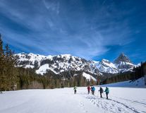 Adults snowshoeing on snowy plateau Kaiserau with mountain Admonter Kalbling. Group of adults snowshoeing on snowy plateau Kaiserau with mountain Admonter royalty free stock photos