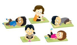 Adults stretching on mats. Illustration of a group of adults stretching Stock Photography