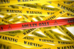Adults only, yellow and red warning tapes with inscription stock images
