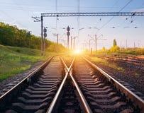 Ładunek taborowa platforma przy zmierzchem Linia kolejowa w Ukraina Kolej Obrazy Stock