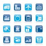 Ładunek, wysyłka i logistycznie ikony, Zdjęcia Stock