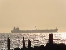 Ładunku statek na morzu Fotografia Stock