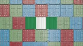 ?adunku zbiornik z flaga Nigeria Nigeryjski importa lub eksporta powiązany 3D rendering ilustracja wektor