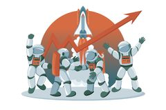 Advance business investment concept banner with astronauts characters stock illustration