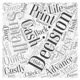 Advance Cash Quick Easy and Costly word cloud concept vector background. Text Stock Image