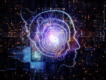 Advance of Consciousness. Background design of outlines of human head, technological and fractal elements on the subject of artificial intelligence, computer Stock Images