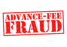 ADVANCE-FEE FRAUD. Red Rubber Stamp over a white background Stock Images