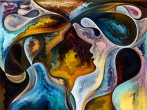 Advance of Living Canvas. Inner Texture series. Arrangement of faces, colors, organic textures, flowing curves on the subject of inner world, love, relationships stock illustration