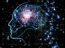 Advance of Machine Consciousness. CPU Mind series. Background design of human face silhouette and technology symbols on the subject of computer science Royalty Free Stock Image