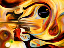 Advance of Music. Inner Melody series. Arrangement of colorful human and musical shapes on the subject of spirituality of music and performing arts stock illustration