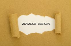 ADVANCE REPORT word written under torn paper. Royalty Free Stock Photography
