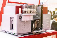 Advance technology Atomic Absorption Spectrophotometer device of lab for analysis chemical element by absorption optical radiation. For industrial food medicine royalty free stock photo