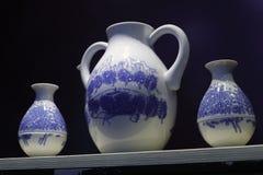 Advanced blue and white porcelain jug. Superior chinese qinghuaqi (  blue and white porcelain ) jug Royalty Free Stock Image
