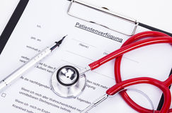 Advanced directive. Image shows an advanced directive, a stethoscope and a pencil Stock Image