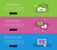 Advanced Education Technology. Vector banners set Royalty Free Stock Images