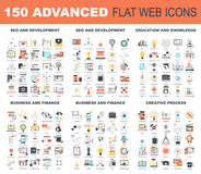Advanced Flat Web Icons Royalty Free Stock Photos