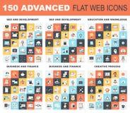 Advanced Flat Web Icons Stock Photos