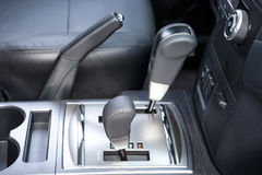 Advanced gear change lever. Automatic transmission,gear-change lever in limousine stock photos