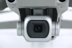 Advanced Hasselblad camera on Dji Mavic 2 Pro. JAKARTA, Indonesia - October 12, 2018: Advanced Hasselblad camera on Dji Mavic 2 Pro drone in the studio, isolated royalty free stock photography