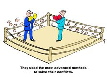 Advanced Methods to Solve Conflicts. Business cartoons showing two businessmen boxing in a ring, They used the most advanced methods to solve their conflicts Stock Photography