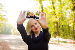 Advanced photographing with smartphone Stock Photo