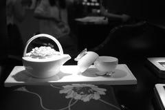 Advanced porcelain set. Superior chinese porcelain set black and white image stock photo