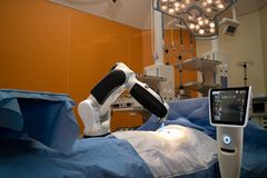 Advanced robotic surgery machine at Hospital,some of major advan Stock Photo
