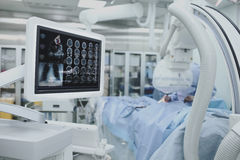 Advanced technology, collection of patient tests on the monitor. During surgery stock photo