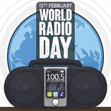 High Tech Boombox over Globe to Celebrate World Radio Day, Vector Illustration stock illustration