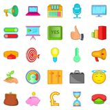 Advancement icons set, cartoon style. Advancement icons set. Cartoon set of 25 advancement vector icons for web isolated on white background Stock Photos