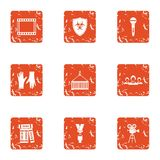 Advancement icons set, grunge style. Advancement icons set. Grunge set of 9 advancement vector icons for web isolated on white background Royalty Free Stock Image