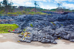 Advancing lava in town Royalty Free Stock Photo