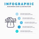 Advantage, Authority, Car, Carpet, Comfort Line icon with 5 steps presentation infographics Background stock illustration