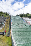Advantage of the beautiful weather, tourists visit the ski jump on June 27, 2016 in Lillehammer, Norway Royalty Free Stock Photography