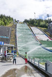 Advantage of the beautiful weather, tourists visit the ski jump on June 27, 2016 in Lillehammer, Norway Royalty Free Stock Images