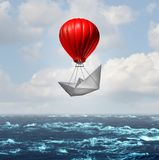 Advantage concept. And competitive business edge as a paper boat being lifted by a hot air balloon racing to the top giving an extra boost through innovation stock illustration
