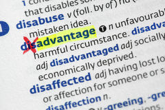 Advantage from disadvantage. The word advantage highligted from disadvantage in a dictionary Royalty Free Stock Photos