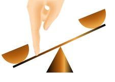 Advantage. Hand and balance. 10 EPS vector illustration