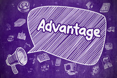 Advantage - Hand Drawn Illustration on Purple Chalkboard. Stock Photo