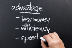 Advantage. Hand writing a competitive advantage of business concept with chalk stock image