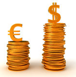 Advantage of US Dollar over Euro. Currency. On white Royalty Free Stock Images