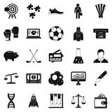Advantageous icons set, simple style. Advantageous icons set. Simple set of 25 advantageous vector icons for web isolated on white background Royalty Free Stock Images