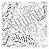 Advantages and Disadvantages of Purchasing Your Own Affiliate Tracking Software word cloud concept background. Text Royalty Free Illustration